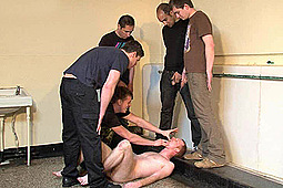 Master Chris, sub ginger, Master Maurice in Public Piss Humiliation by