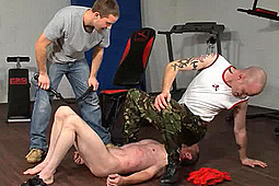 Master Darren, Master Dave, sub painpig in Gym Facesitting Torment by