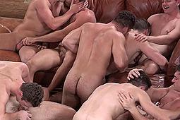 Atticus, Blake, Brendan, Brodie, Joey, Lane, Porter, Robbie, Tanner in Winter Getaway: 9-Man Raw FuckFest by