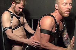 in Leather Bareback in a Cage by