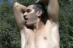 in Andrew Jerks Off in the Garden by
