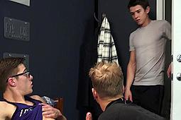 Blake Mitchell, Evan Parker, Noah White in Evan Walks in on Noah & Blake by