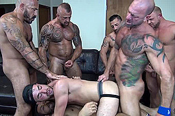 Alessio Romero, Alex Mason, Daxton Ryker, Jon Galt, Mario Cruz, Nick Cross, Vic Rocco in Alex's Birthday Double-Penetration by