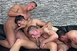 Bened Faust, Bradley Cook, Filip Vacek, Honza Onus in Bradley Cook's Oral Sex Party by