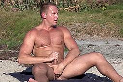 Broderick in Broderick Masturbates on the Beach by