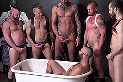 Aaron Burke, Chris Perry, Dolf Dietrich, Jacob Slader, Patrick O'Connor, Tony Bishop in Mega Piss Pig Orgy by